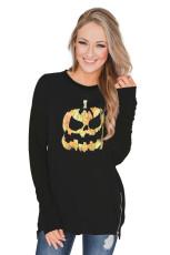 Halloween téma tök mintás cipzáras pulóver