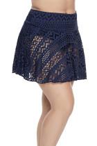 블루 크로 셰 뜨개질 레이스 Skirted Bikini Bottom