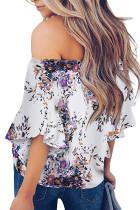 Camicetta in chiffon alto basso con scollo a fiori viola con spalle scoperte
