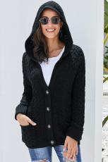Black Card Knit Hooded Cardigan