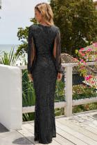 Partiya Black Sequin Fringe Sleeve Partiya Maxi Evening