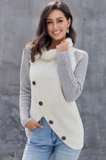 Grå knapp Turtle Cowl Neck asymmetrisk hem Wrap Pullover-genser