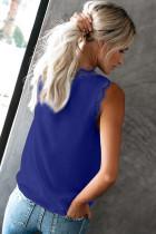 Blå ermeløs øyenvippe Lace V Neck Tank Top