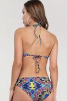 Fekete virágos nyomtatás Halterneck 2 darab Bikini szett