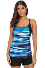 Blue Tie Dye Striped Layered Style Tankini Top