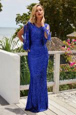 Blue Sequin Partiya Seweve Fringe Maxi Evening Dress