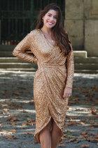 살구 장식 조각 포장 Ruched 불규칙한 드레스