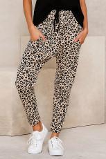 Khaki Casual Skinny Leopard Print Quần