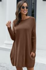 Khaki overdimensjonert batwing erme genser kjole