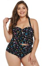 Plus Size Pattern Skriv ut Ruffle Two Piece Badkläder