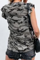 그레이 카무플라주 프린트 러플 캡 슬리브 티셔츠
