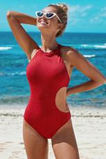 Red Frilled Neck Cut-out Ribbed Badkläder i ett stycke