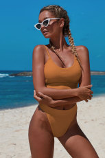 Orange Hai mảnh đan kết cấu bộ bikini