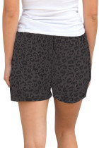 Grey Leopard Print Drawstring Midje Shorts