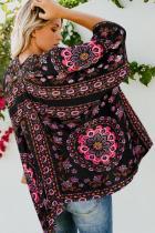 Černý květinový kimono Cardigan Open přední kryt nahoru