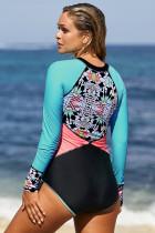 Uzun Kollu Zip UV Koruma Baskı Sörf Mayo