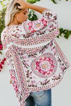 Bílé květinové Kimono Cardigan Open přední kryt nahoru