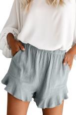 Harmaa sininen korkea vyötärö taskut röyhelö shortsit