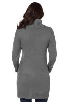 Šedá kabelka krku kabelu Knit Sweater šaty