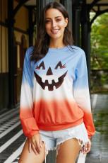 Ombre színes blokk Halloween tök pulóver