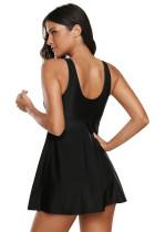 Μαύρο Strappy υψηλό λαιμό κολυμπά φόρεμα