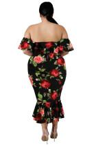 Černé Off-the-rameno Květinová mořská panna Plus velikost šaty
