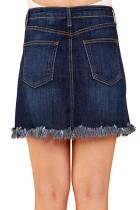 Niebieska spódnica z dżinsami
