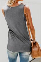 Phụ nữ bình thường màu xám Tank Top với túi nhiều màu