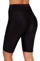 검은 색 높은 허리가있는 보드 쇼트 수영 바닥