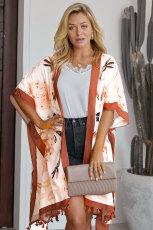 Orange, imprimé bohème ouvert, devant, ample, kimono, plage