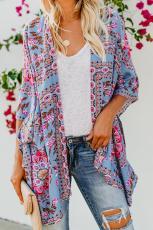 Sky Blue Floral Kimono Cardigan Open Přední Kryt Nahoru