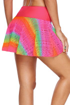 Rainbow Lace Flared Swim Skirt