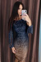 Blue Ombre Sequin Tassel Sleeve Bodycon Evening Dress