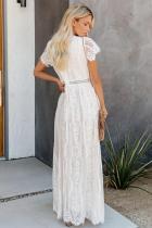 Hvit Fyll ditt hjerteblonder Maxi kjole