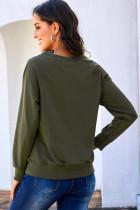 Zöld francia frottír pamut keverék pulóver pulóver