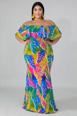 Plus velikosti tropické palmy mořská panna šaty