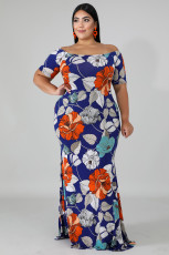 Modré off-the-rameno květinový tisk plus velikost Maxi šaty