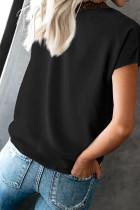 T-shirt con bordo in pizzo nero scollo a V