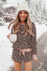 Šortky s dlouhým rukávem Pink Leopard s dlouhým rukávem