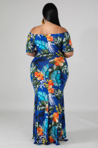 Zelené off-the-rameno květinový tisk plus velikost Maxi šaty