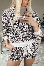 Zestaw piżamowych szortów z długim rękawem Leopard