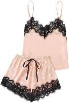 Completo pigiama top e pantaloncini da notte in raso di pizzo color albicocca