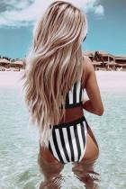 Tankên reş ên Athletic Striped Tank High Waist Bikini