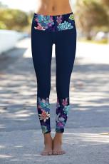 Navy Blomster Trykte detaljer Leggings Yoga Bukser