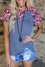Top moda a righe blu navy leopardo rosa