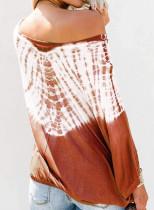 Orange Tie-Dye Print Long Batwing Sleeve Loose Casual Halenka