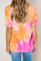 Tričko Orange Gradient Tie Dye V Neck