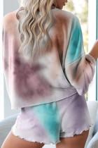 Flerfarget Tie-dye Pyjamas Loungewear Set
