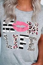 Tričko Leopard Mom Life Rips Grey