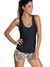 Leopardí sportovní podprsenka Tankini plavky s černou vestou